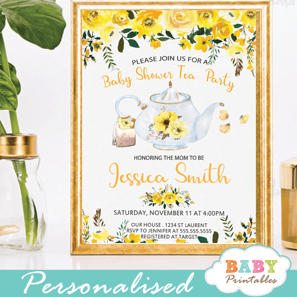 Floral yellow tea party baby shower invitations d465 baby printables yellow floral garden tea baby shower invitations gender neutral filmwisefo