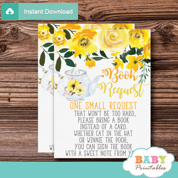 gender neutral floral yellow tea party invitation inserts book request