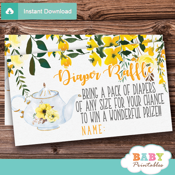 Floral Yellow Tea Party Diaper Raffle Tickets D465 Baby Printables