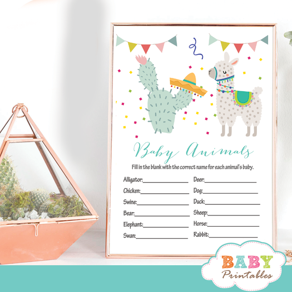 cactus Mexican fiesta llama baby shower games ideas