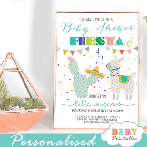 llama baby shower invitations cactus mexican fiesta gender neutral ideas