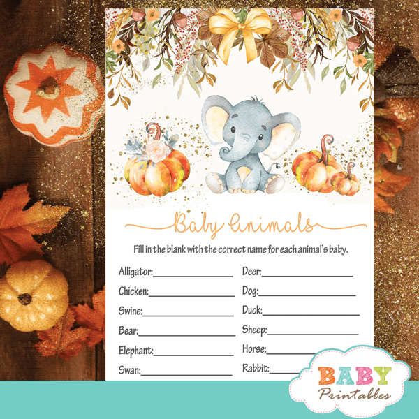Fall Theme Elephant Baby Shower Games D428 Baby Printables