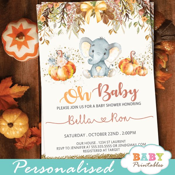 fall theme pumpkin elephant baby shower invitations boy girl gender neutral