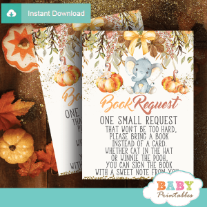 fall theme pumpkin elephant book request cards invitation inserts for baby