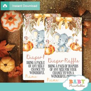 fall flowers pumpkin theme elephant diaper raffle tickets autumn shower