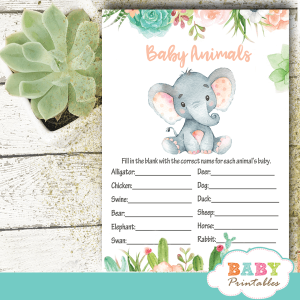 succulent elephant baby shower games cactus flowers ideas peach green gray gender neutral