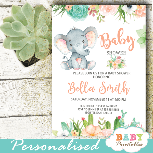 floral succulent elephant baby shower invitations gender reveal invites ideas peach gray