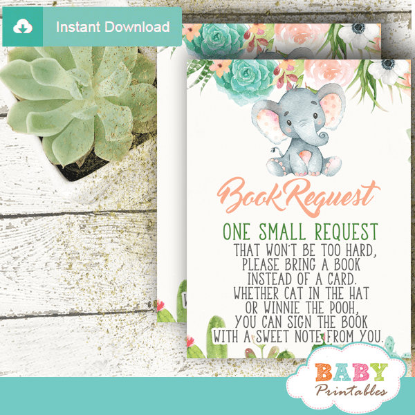 floral succulent elephant book request cards invitation inserts for baby peach green gray