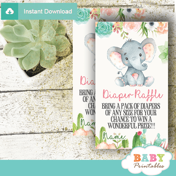 succulent floral theme elephant diaper raffle tickets cactus shower gender neutral