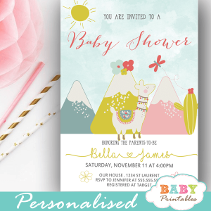 llama baby shower invitations gender neutral ideas alpaca mountains