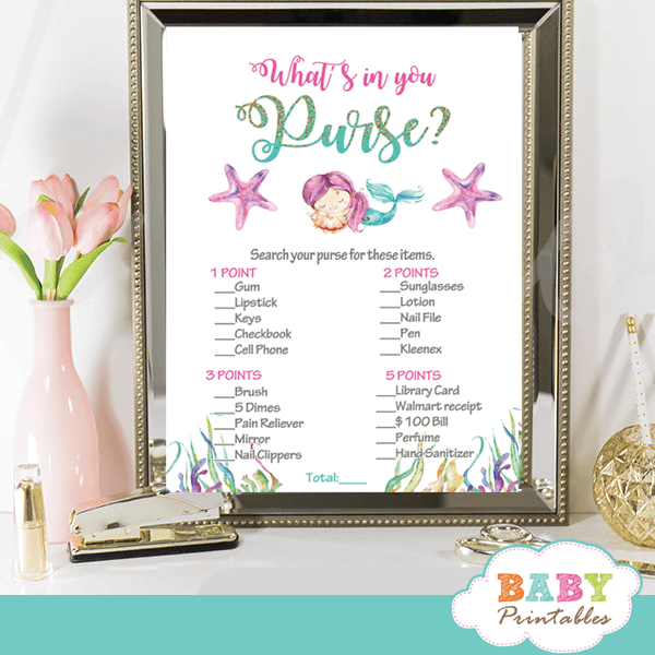 Mermaid Baby Shower Games Teal Gray Magenta D470 Baby Printables