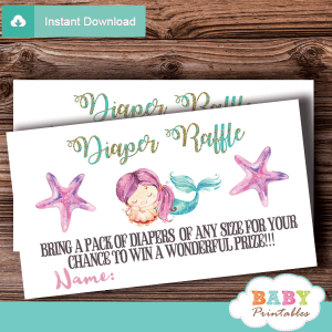 mermaid diaper raffle tickets prize girl teal magenta star fish sea