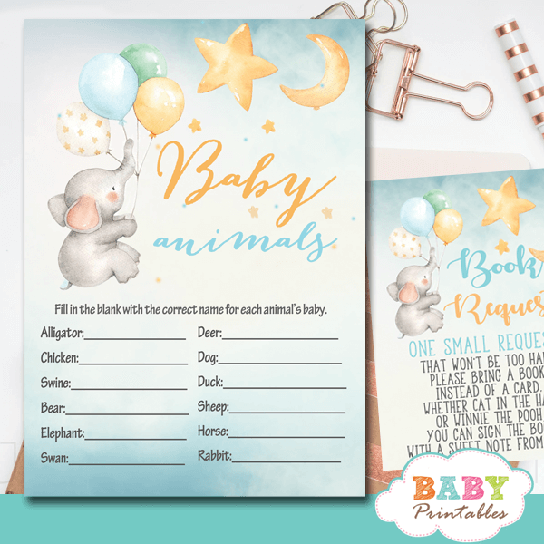 moon and stars elephant baby shower games boys yellow blue