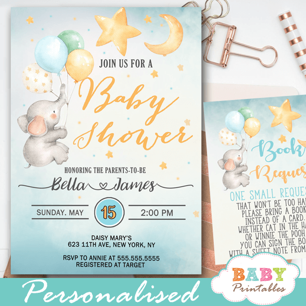 moon and stars elephant baby shower invitations boy blue balloons