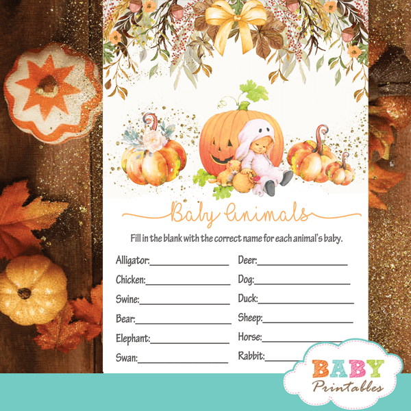 Pumpkin Baby Shower Games Fall Theme D340 Baby Printables