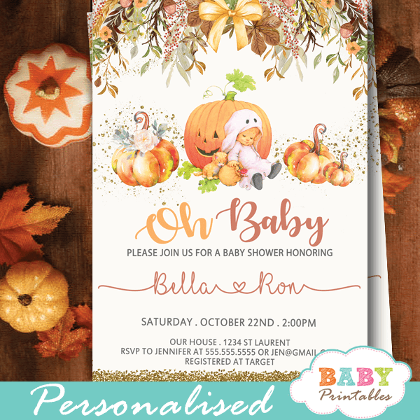 pumpkin baby shower invitations fall autumn theme flowers gender neutral boy girl