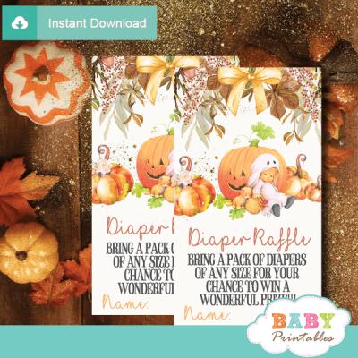 fall flowers pumpkin theme diaper raffle tickets autumn shower