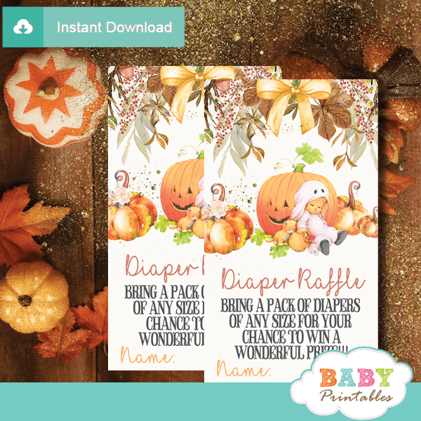 fall flowers pumpkin theme diaper raffle tickets autumn shower
