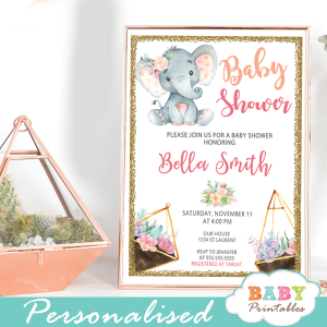 pink gold succulent terrarium elephant baby shower invitations girl ideas