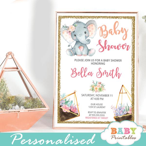 pink gold succulent terrarium elephant baby shower invitations girl ideas