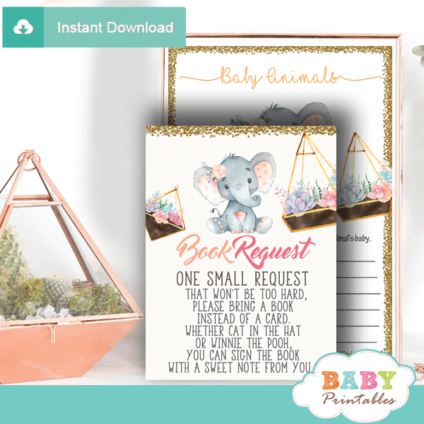 succulent terrarium elephant book request cards invitation inserts for baby gold peach pink girl