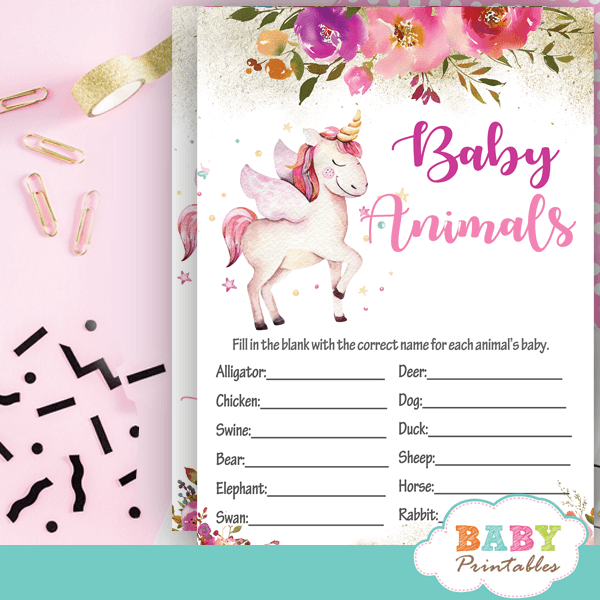 pink gold floral unicorn baby shower games ideas girl