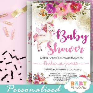 pink gold floral unicorn baby shower invitations girl theme