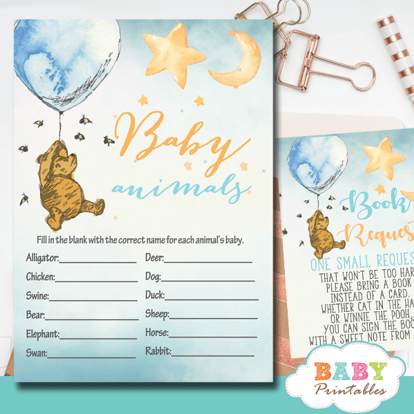 winnie the pooh baby shower games theme printable