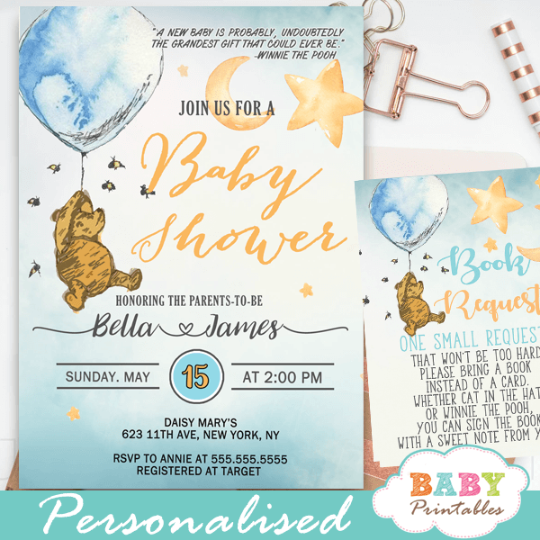 winnie the pooh baby shower invitations cute blue boy vintage ideas classic theme