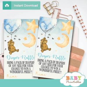 winnie the pooh diaper raffle tickets prizes classic elegant cute
