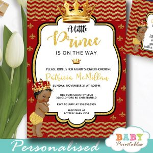 red gold african american royal prince baby shower invitations boy theme