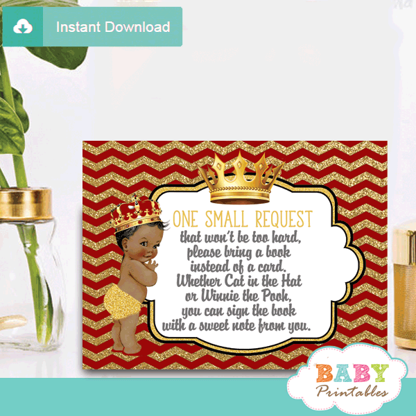 red and gold african american prince baby shower book request invitation inserts