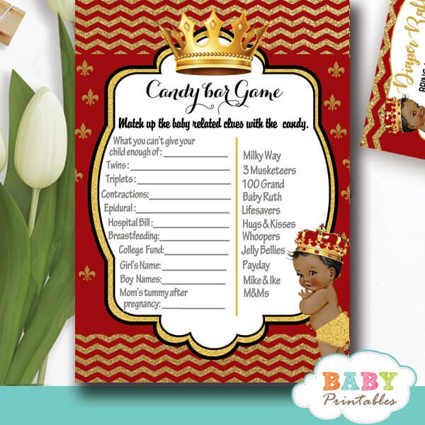 red and gold prince baby shower games african american royal boy ideas theme