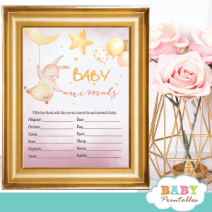 moon and stars theme pink bunny baby shower games