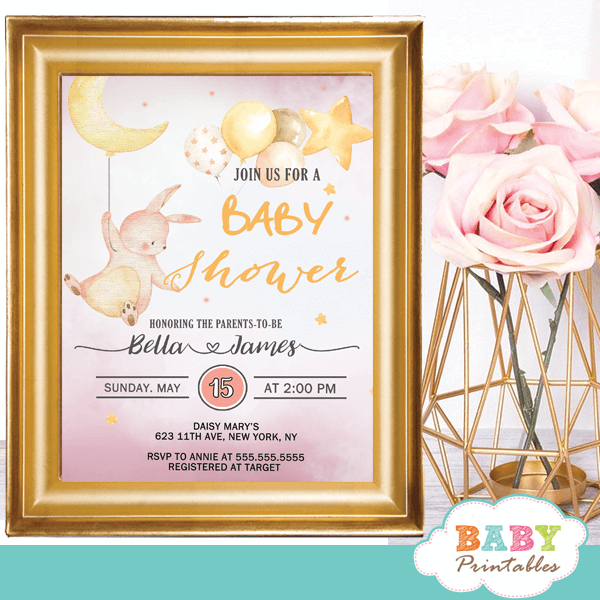 Moon And Stars Pink Bunny Baby Shower Invites D175 Baby Printables