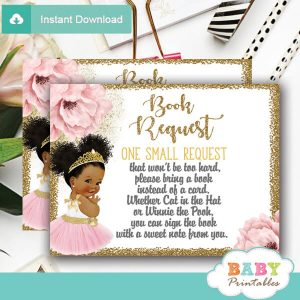 floral pink ballerina tutu book request cards gold girl african american princess