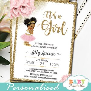 floral pink gold african american princess ballerina baby shower invites