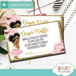 pink gold African american ballerina diaper raffle tickets prize ideas
