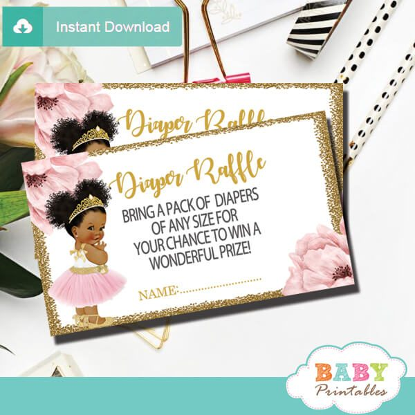 pink gold African american ballerina diaper raffle tickets prize ideas