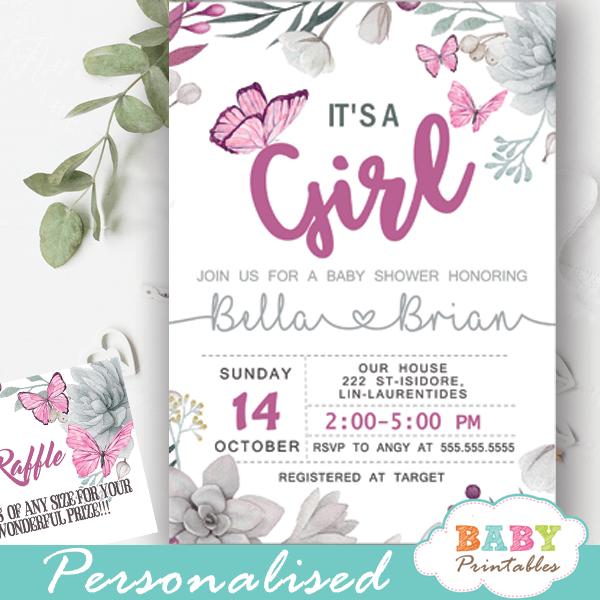 Succulent Pink Butterflies Baby Shower Invitations D231 Baby