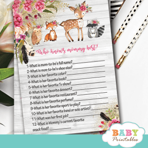 boho floral rustic woodland baby shower games forest animals creatures pink girl