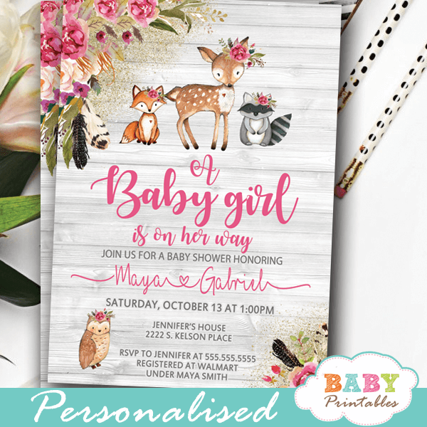 boho floral rustic woodland baby shower invites animals pink girl wood