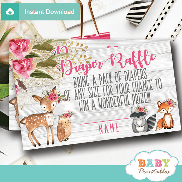 rustic woodland diaper raffle tickets decorations theme pink flowers girl forest animals