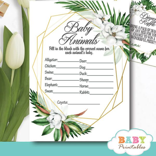greenery baby shower games geometric frames tropical foliage ideas theme