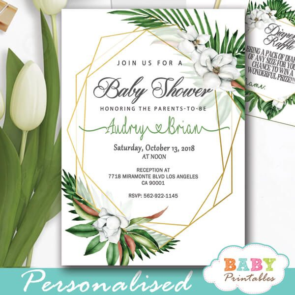 greenery baby shower invitations tropical floral geometric frames gold gender neutral ideas