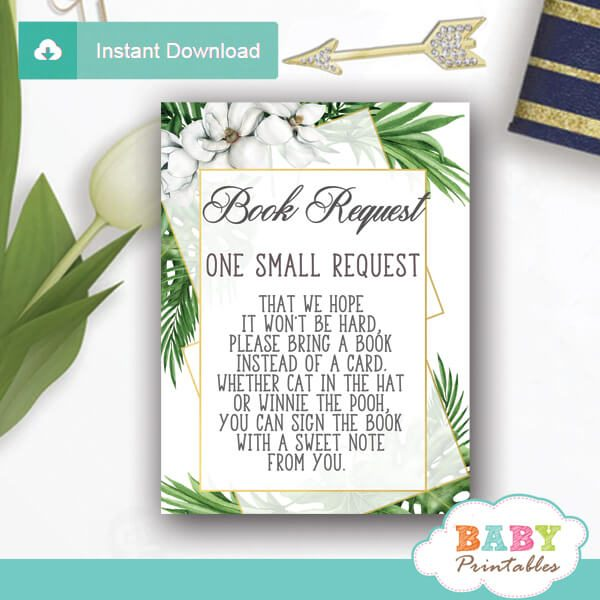 greenery book request cards geometric frames tropical foliage invitation inserts gender neutral ideas
