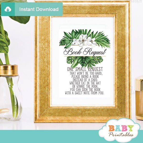 magnolia flowers greenery book request cards tropical foliage invitation inserts gender neutral ideas
