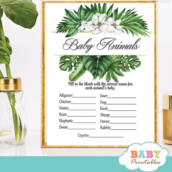 magnolia flowers greenery baby shower games tropical foliage ideas theme
