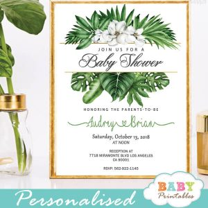 magnolia flowers greenery baby shower invitations tropical gender neutral ideas