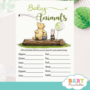 gender reveal Winnie the pooh baby shower games theme printable vintage